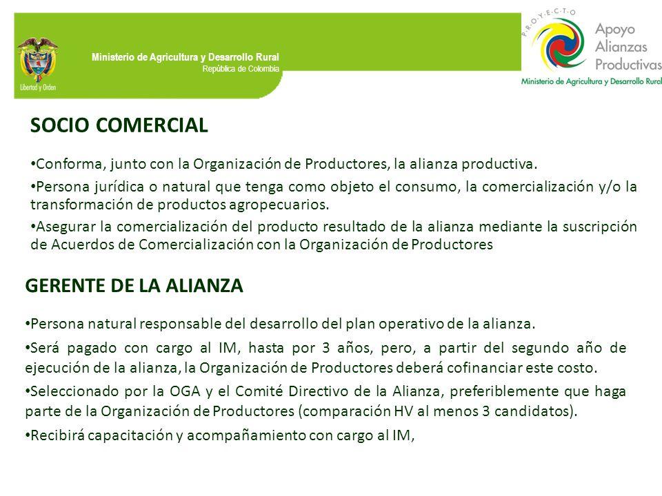 SOCIO COMERCIAL GERENTE DE LA ALIANZA