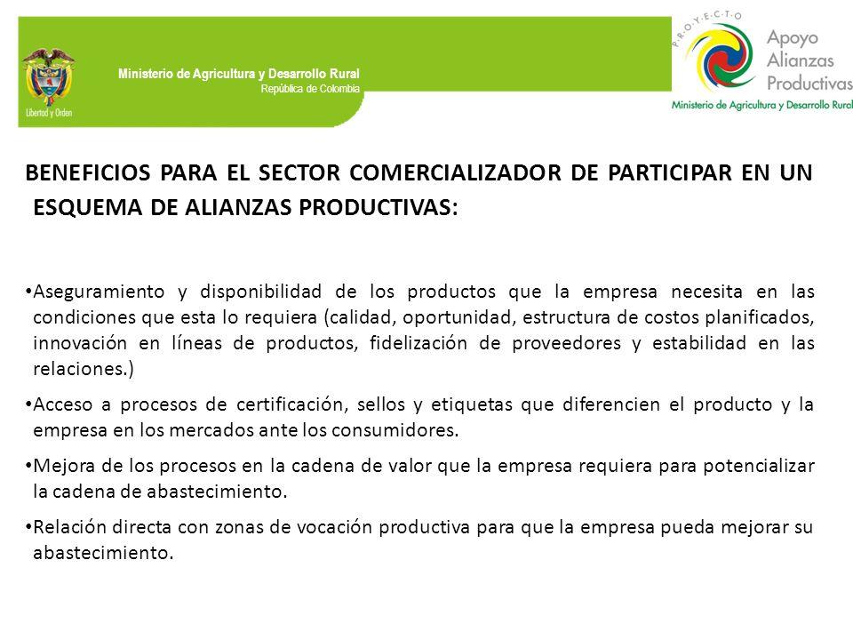 BENEFICIOS PARA EL SECTOR COMERCIALIZADOR DE PARTICIPAR EN UN ESQUEMA DE ALIANZAS PRODUCTIVAS: