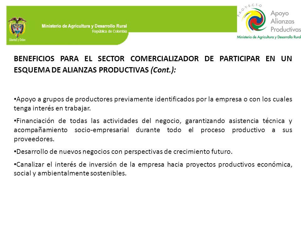 BENEFICIOS PARA EL SECTOR COMERCIALIZADOR DE PARTICIPAR EN UN ESQUEMA DE ALIANZAS PRODUCTIVAS (Cont.):