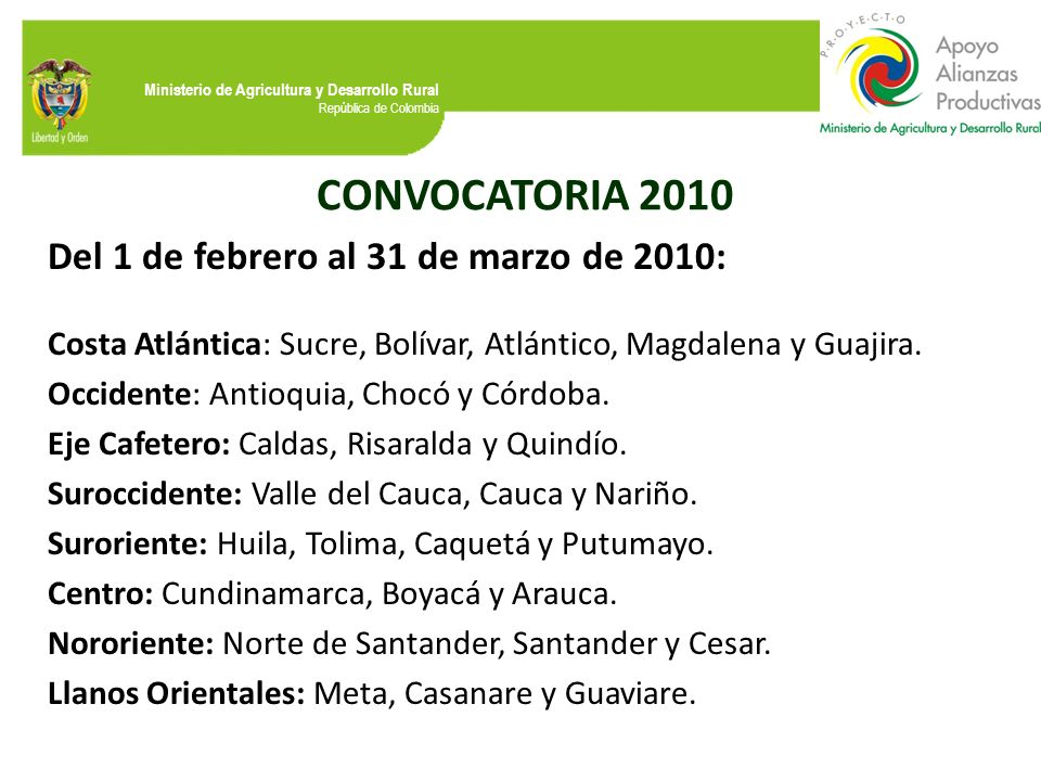 CONVOCATORIA 2010 Del 1 de febrero al 31 de marzo de 2010: