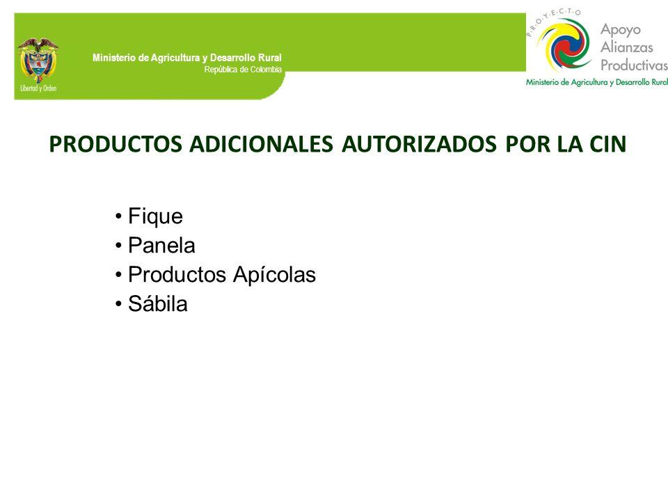 PRODUCTOS ADICIONALES AUTORIZADOS POR LA CIN