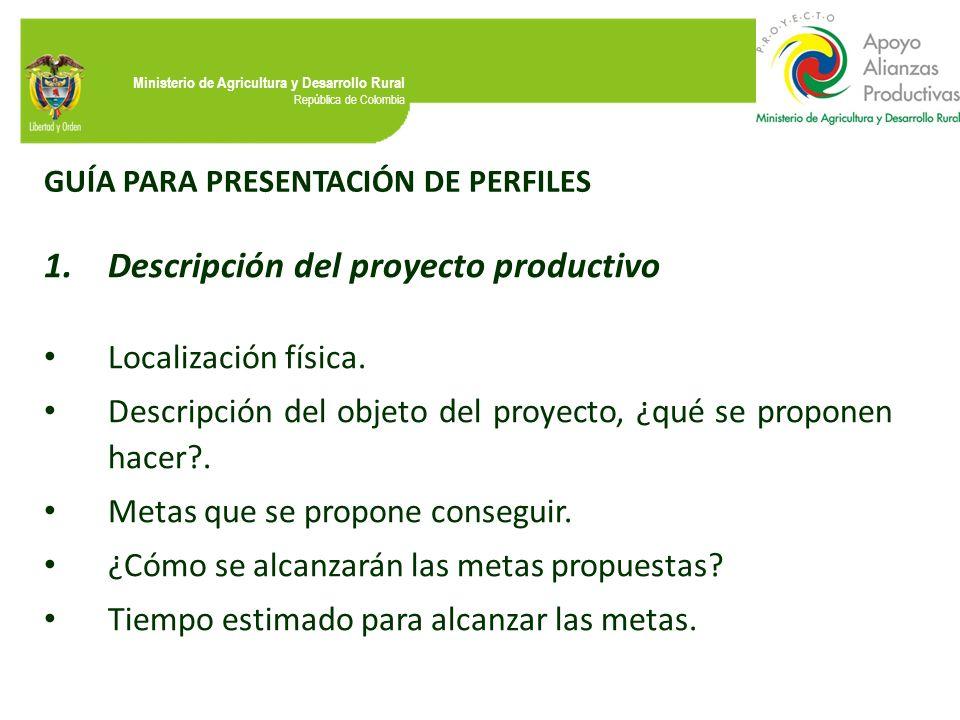 Descripción del proyecto productivo