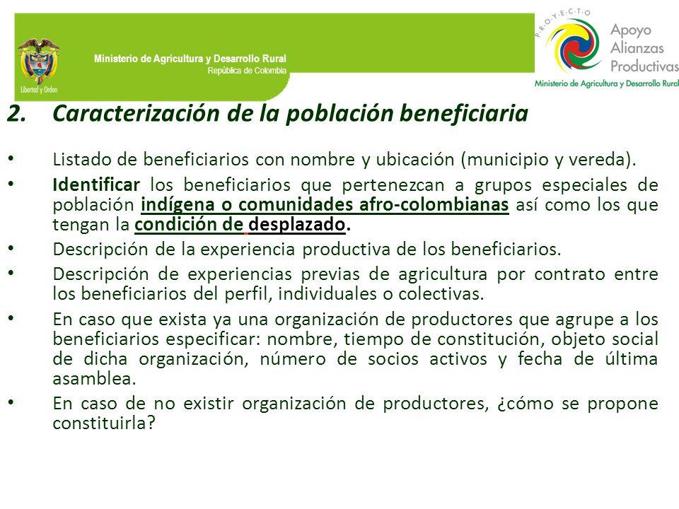 Caracterización de la población beneficiaria