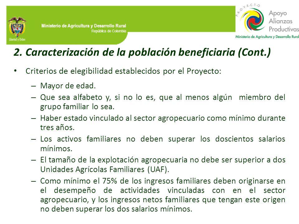 Caracterización de la población beneficiaria (Cont.)