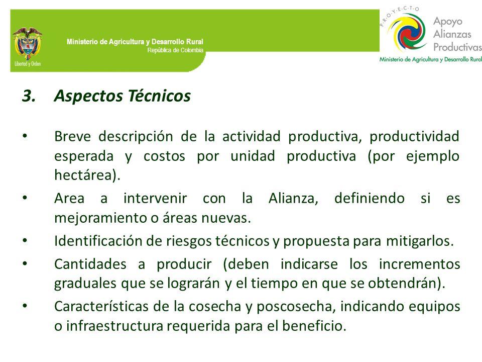 Aspectos Técnicos Breve descripción de la actividad productiva, productividad esperada y costos por unidad productiva (por ejemplo hectárea).