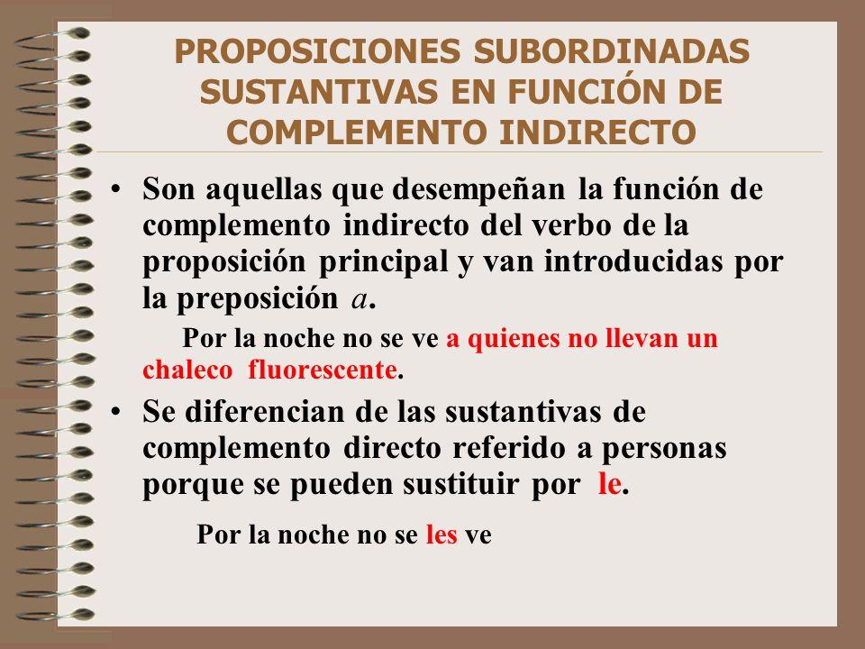 PROPOSICIONES SUBORDINADAS SUSTANTIVAS EN FUNCIÓN DE COMPLEMENTO INDIRECTO