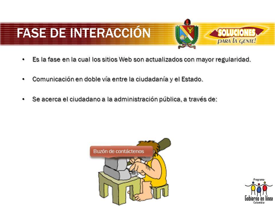 FASE DE INTERACCIÓN Es la fase en la cual los sitios Web son actualizados con mayor regularidad.