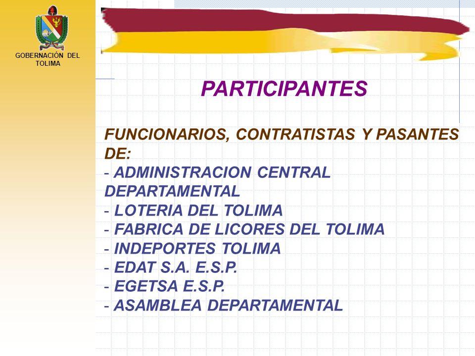 PARTICIPANTES FUNCIONARIOS, CONTRATISTAS Y PASANTES DE: