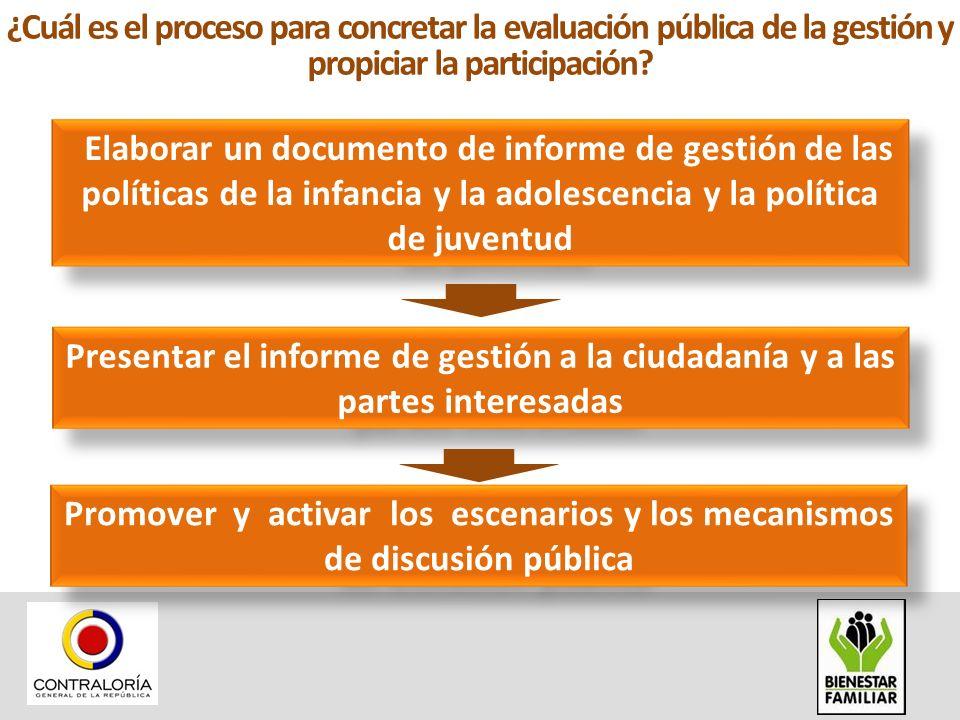 ¿Cuál es el proceso para concretar la evaluación pública de la gestión y propiciar la participación