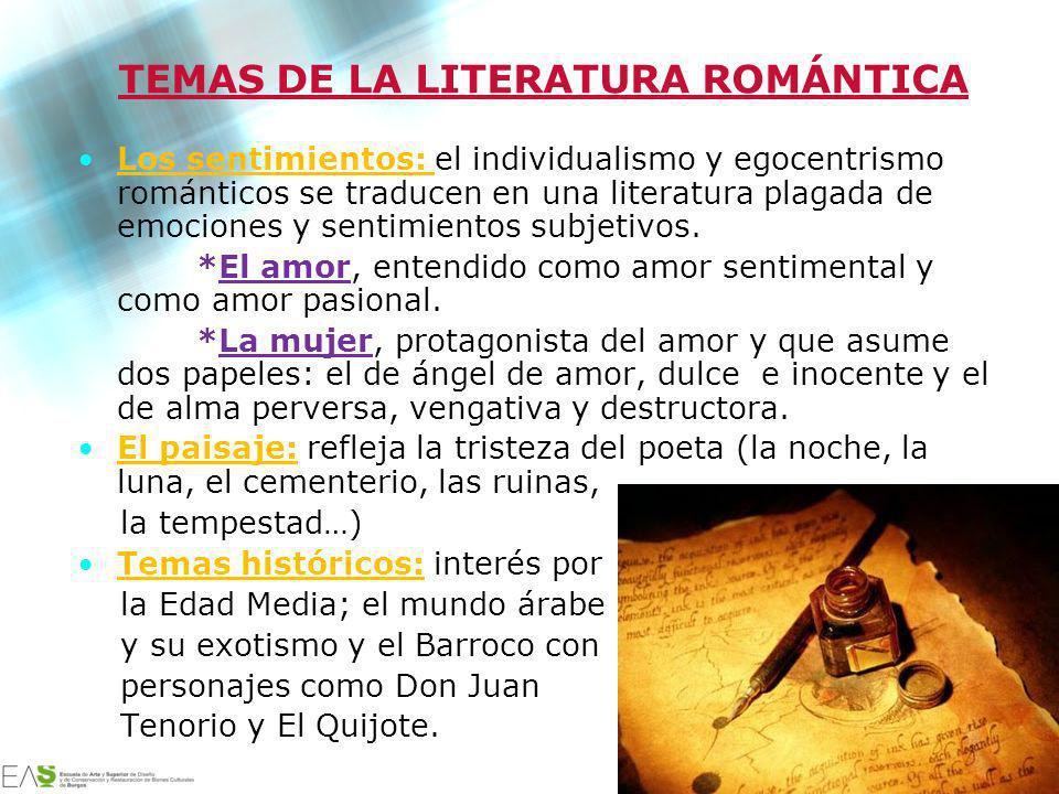 TEMAS DE LA LITERATURA ROMÁNTICA