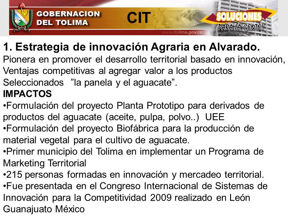 CIT 1. Estrategia de innovación Agraria en Alvarado.