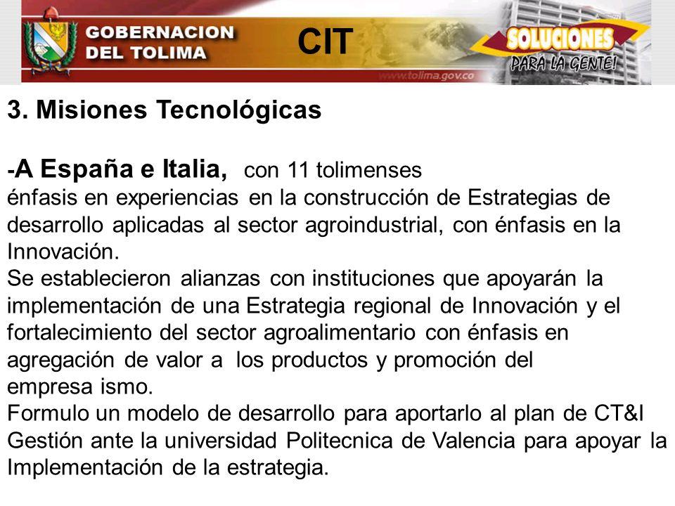 CIT 3. Misiones Tecnológicas -A España e Italia, con 11 tolimenses