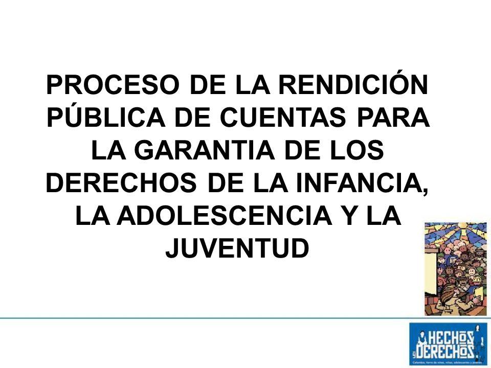 PROCESO DE LA RENDICIÓN PÚBLICA DE CUENTAS PARA LA GARANTIA DE LOS DERECHOS DE LA INFANCIA, LA ADOLESCENCIA Y LA JUVENTUD