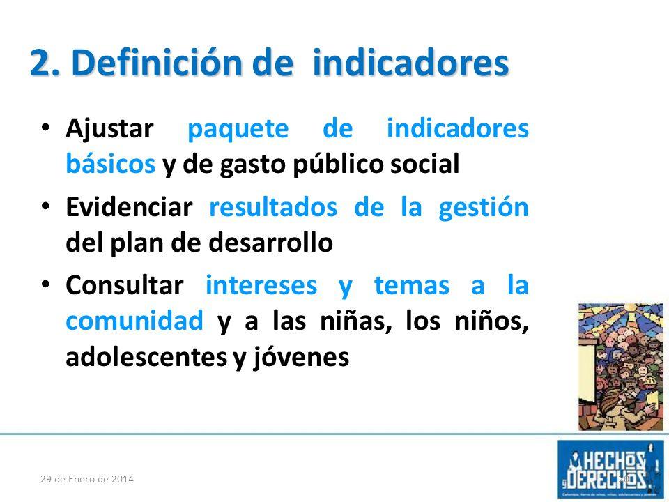 2. Definición de indicadores