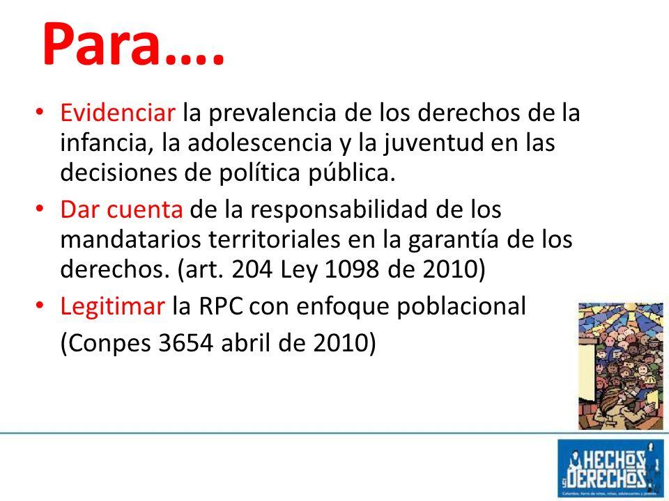 Para…. Evidenciar la prevalencia de los derechos de la infancia, la adolescencia y la juventud en las decisiones de política pública.