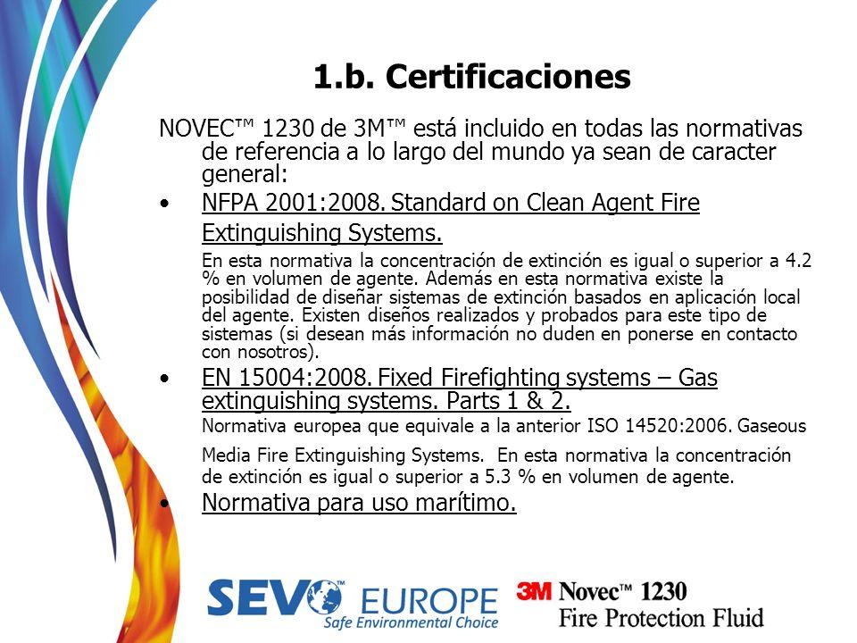 1.b. CertificacionesNOVEC™ 1230 de 3M™ está incluido en todas las normativas de referencia a lo largo del mundo ya sean de caracter general:
