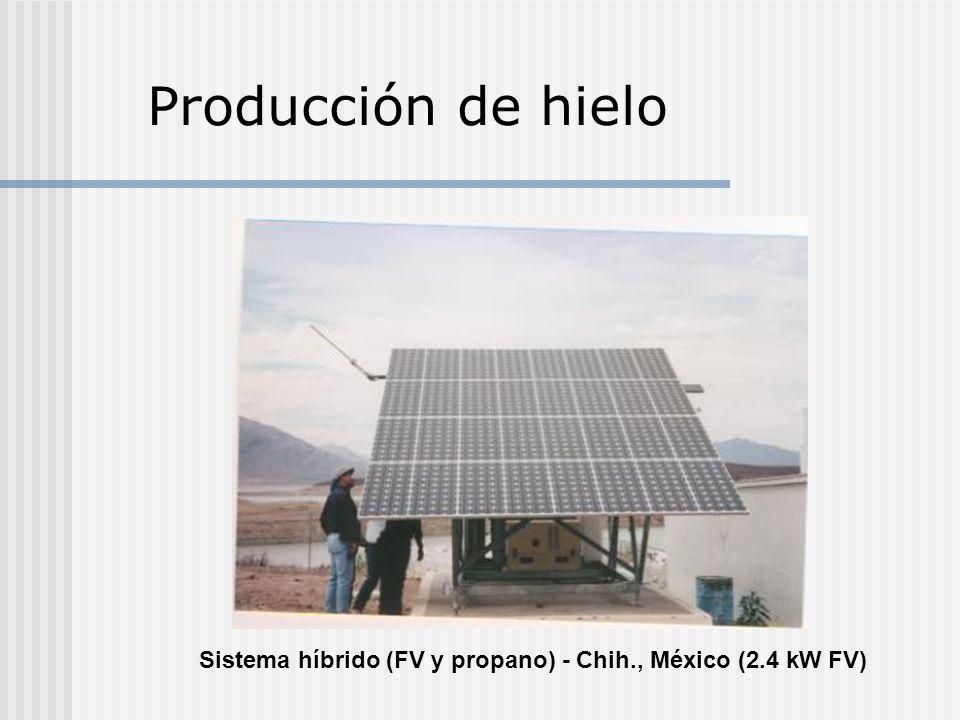 Producción de hielo Sistema híbrido (FV y propano) - Chih., México (2.4 kW FV)