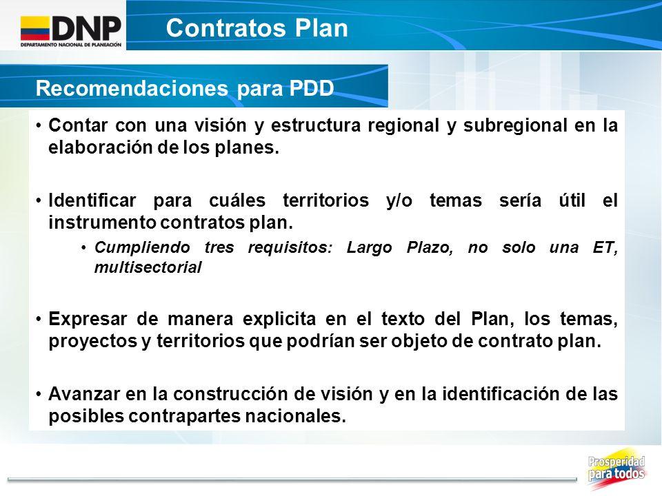 Contratos Plan Recomendaciones para PDD