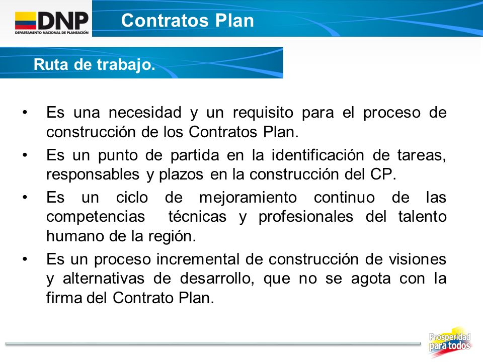 Contratos Plan Ruta de trabajo.