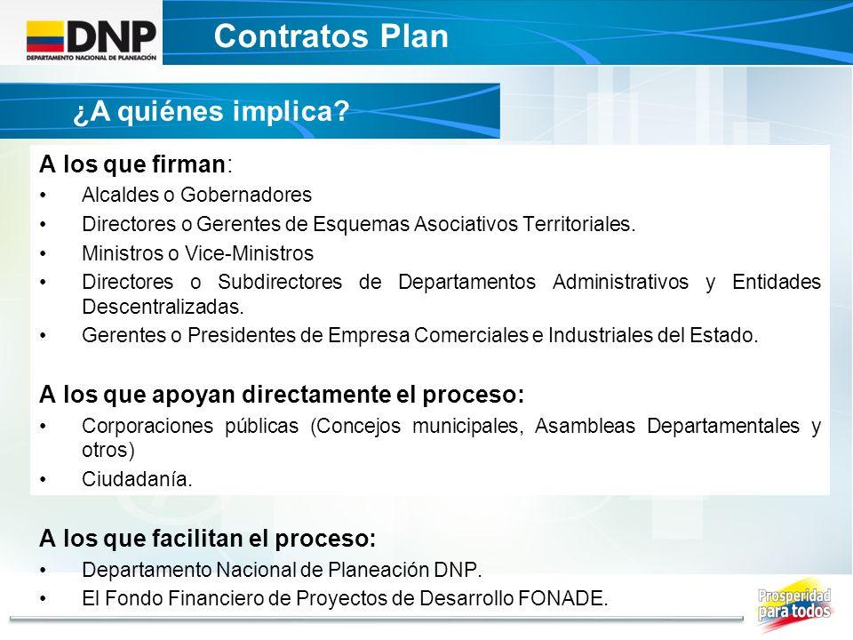 Contratos Plan ¿A quiénes implica A los que firman: