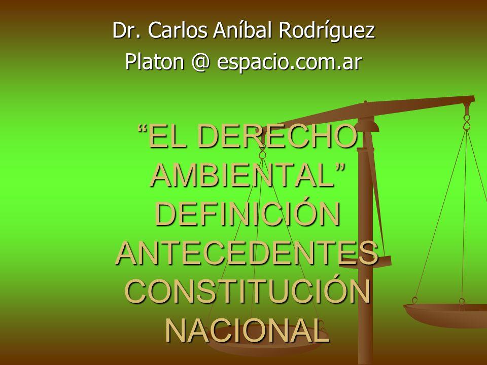 EL DERECHO AMBIENTAL DEFINICIÓN ANTECEDENTES CONSTITUCIÓN NACIONAL