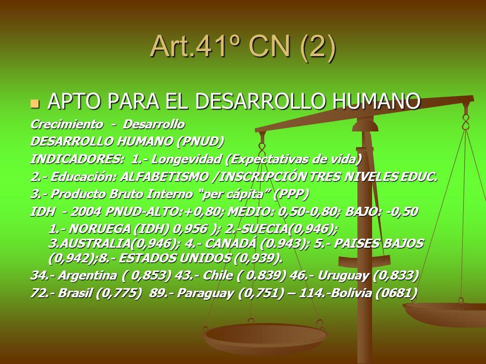 Art.41º CN (2) APTO PARA EL DESARROLLO HUMANO Crecimiento - Desarrollo