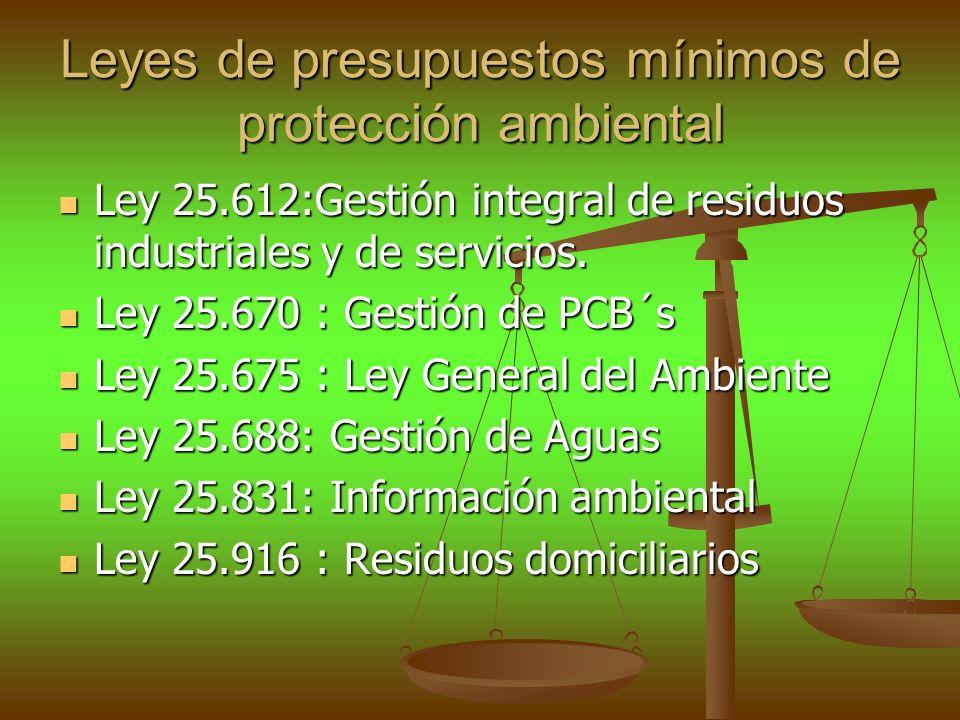 Leyes de presupuestos mínimos de protección ambiental