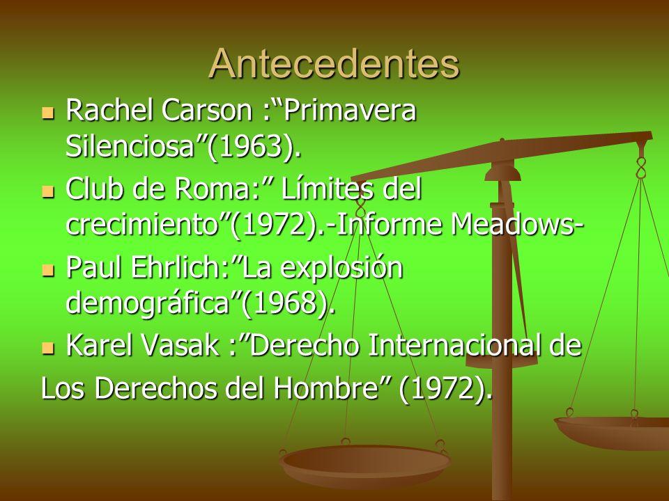 Antecedentes Rachel Carson : Primavera Silenciosa (1963).