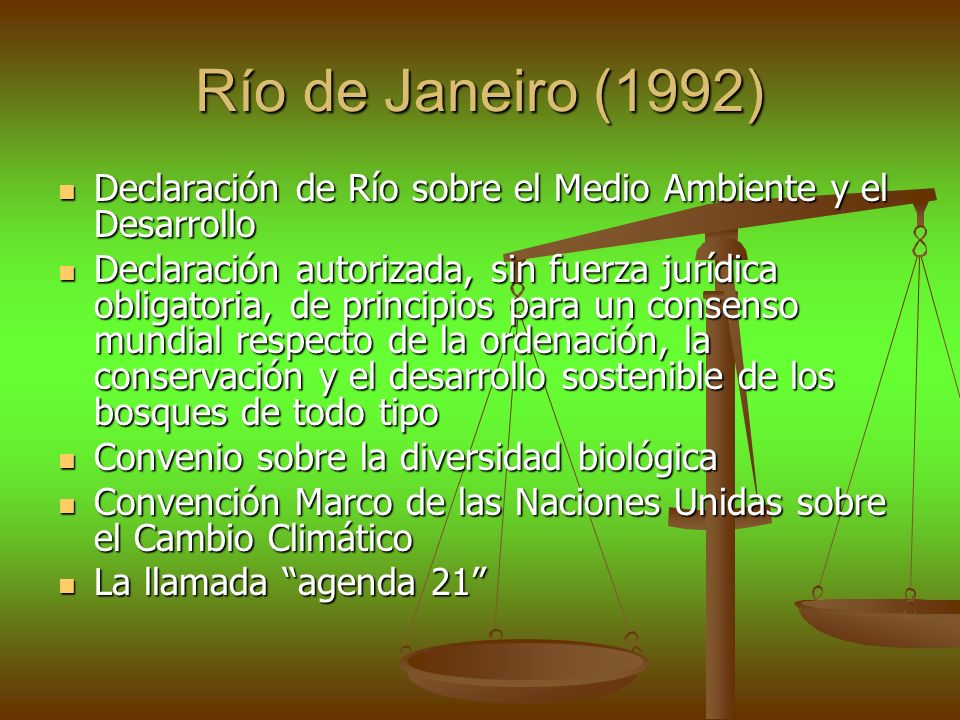 Río de Janeiro (1992) Declaración de Río sobre el Medio Ambiente y el Desarrollo.