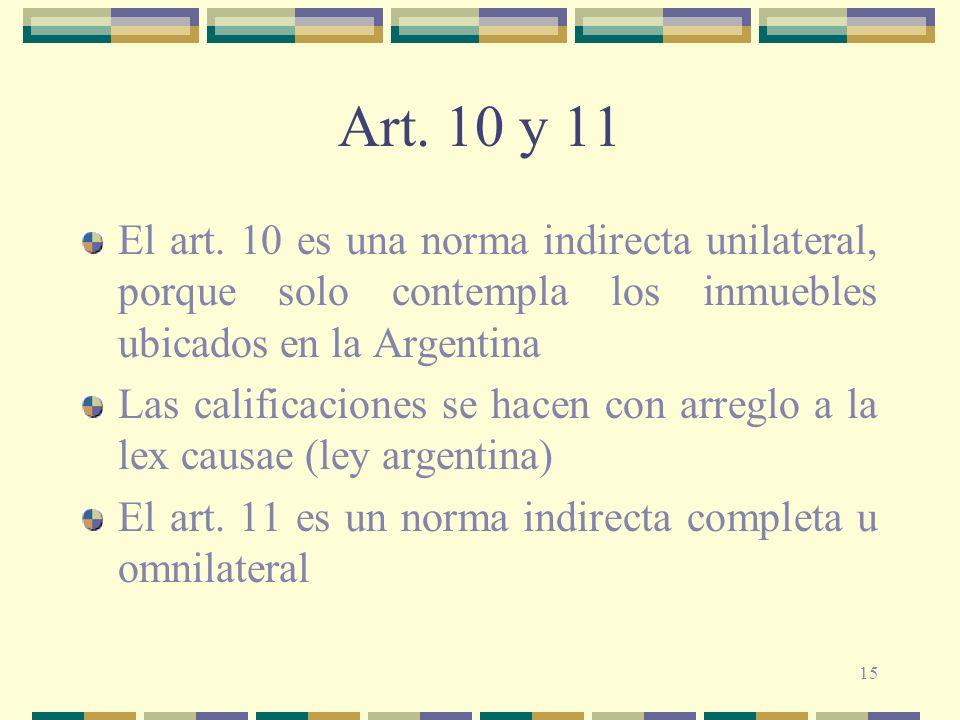 Art. 10 y 11 El art. 10 es una norma indirecta unilateral, porque solo contempla los inmuebles ubicados en la Argentina.