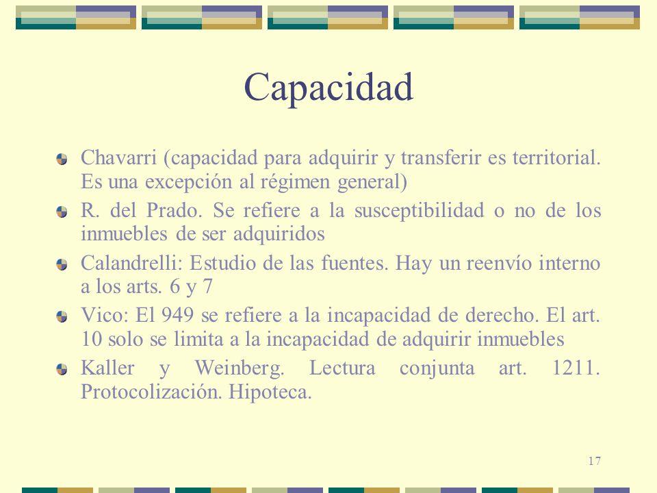 Capacidad Chavarri (capacidad para adquirir y transferir es territorial. Es una excepción al régimen general)
