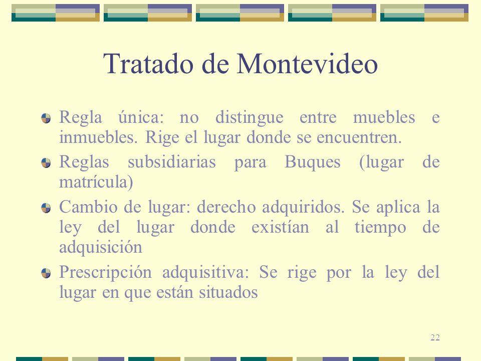 Tratado de Montevideo Regla única: no distingue entre muebles e inmuebles. Rige el lugar donde se encuentren.