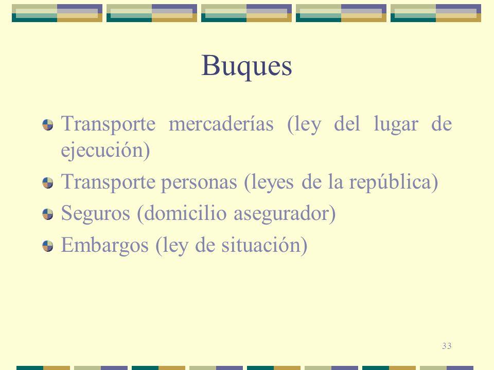 Buques Transporte mercaderías (ley del lugar de ejecución)