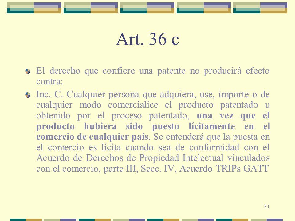 Art. 36 c El derecho que confiere una patente no producirá efecto contra: