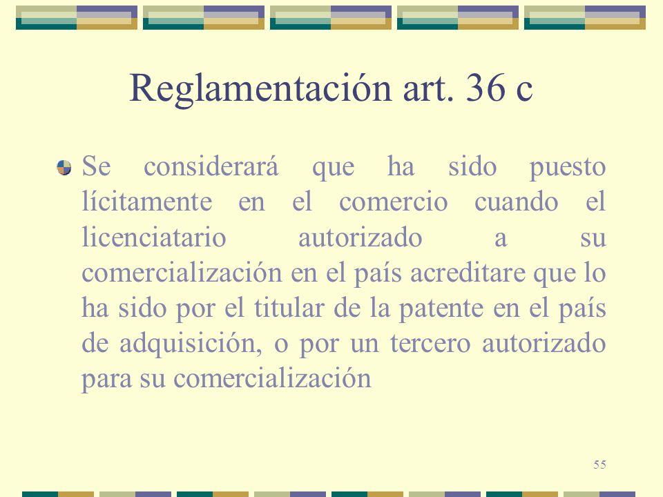 Reglamentación art. 36 c