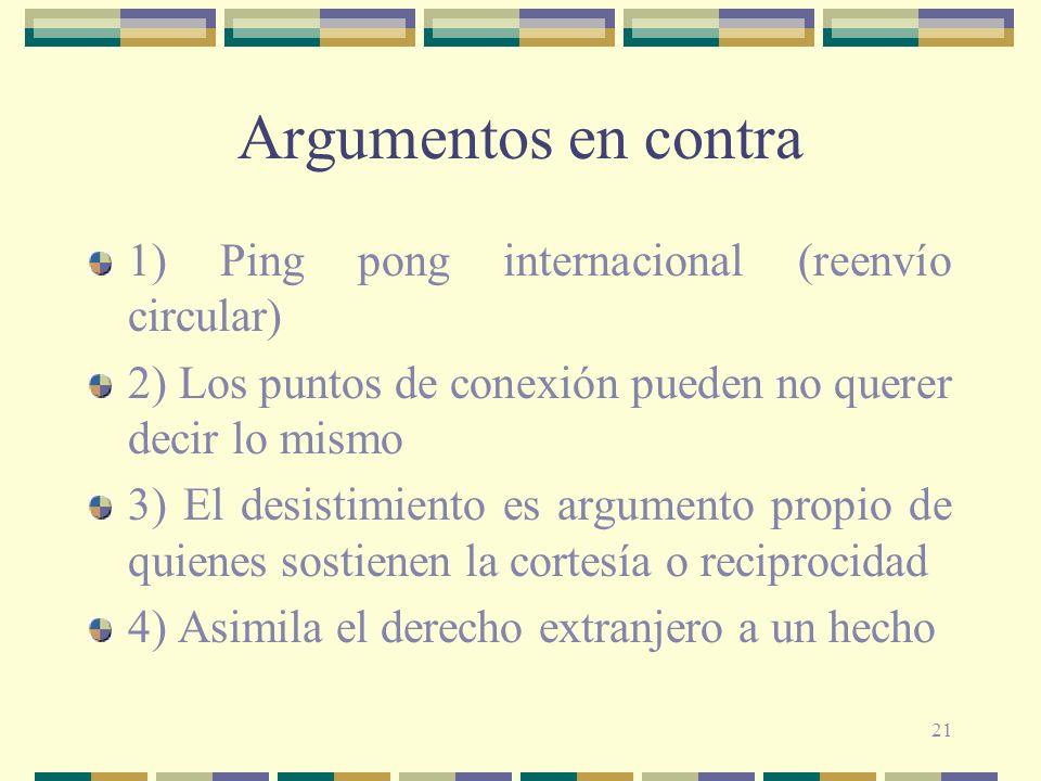 Argumentos en contra 1) Ping pong internacional (reenvío circular)