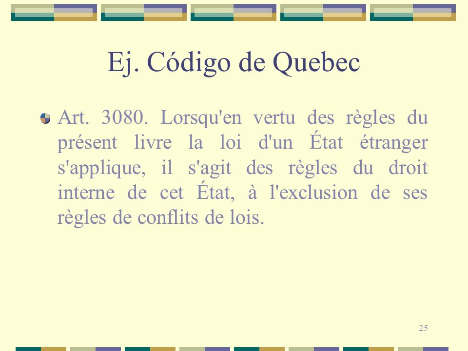 Ej. Código de Quebec