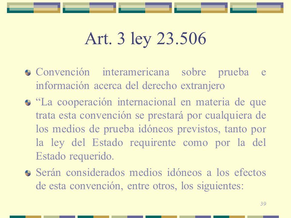 Art. 3 ley 23.506 Convención interamericana sobre prueba e información acerca del derecho extranjero.