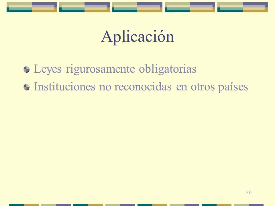 Aplicación Leyes rigurosamente obligatorias