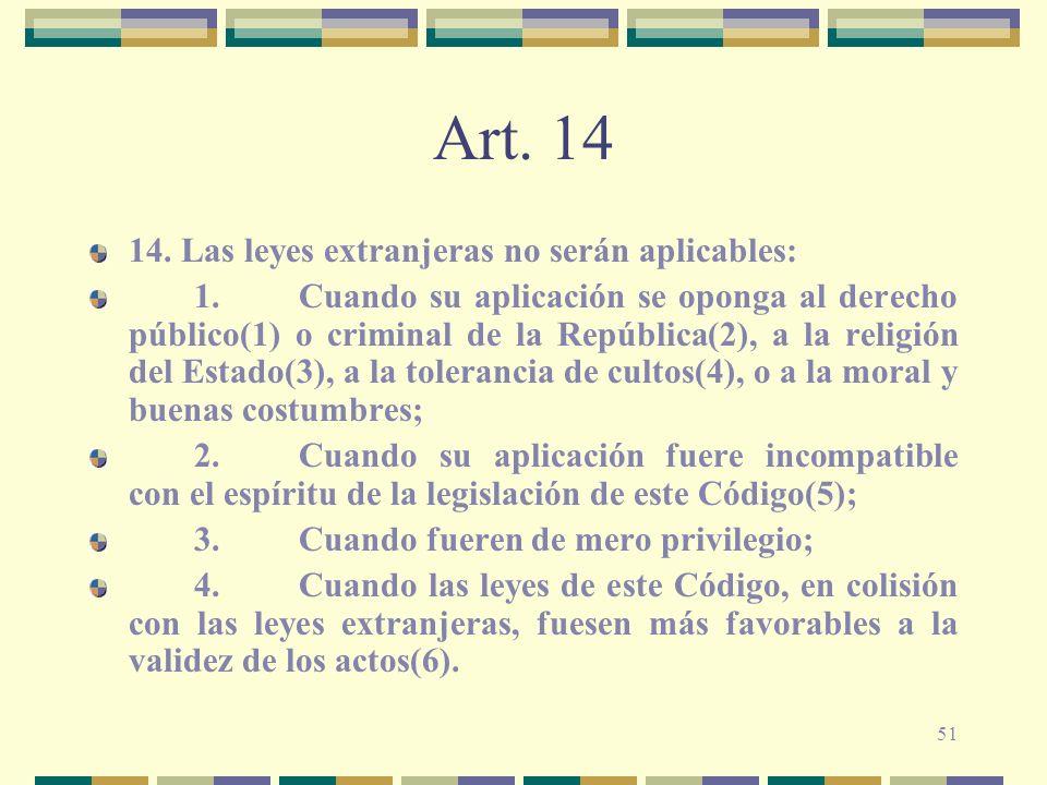 Art. 14 14. Las leyes extranjeras no serán aplicables:
