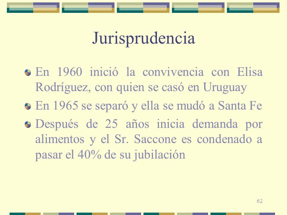 Jurisprudencia En 1960 inició la convivencia con Elisa Rodríguez, con quien se casó en Uruguay. En 1965 se separó y ella se mudó a Santa Fe.