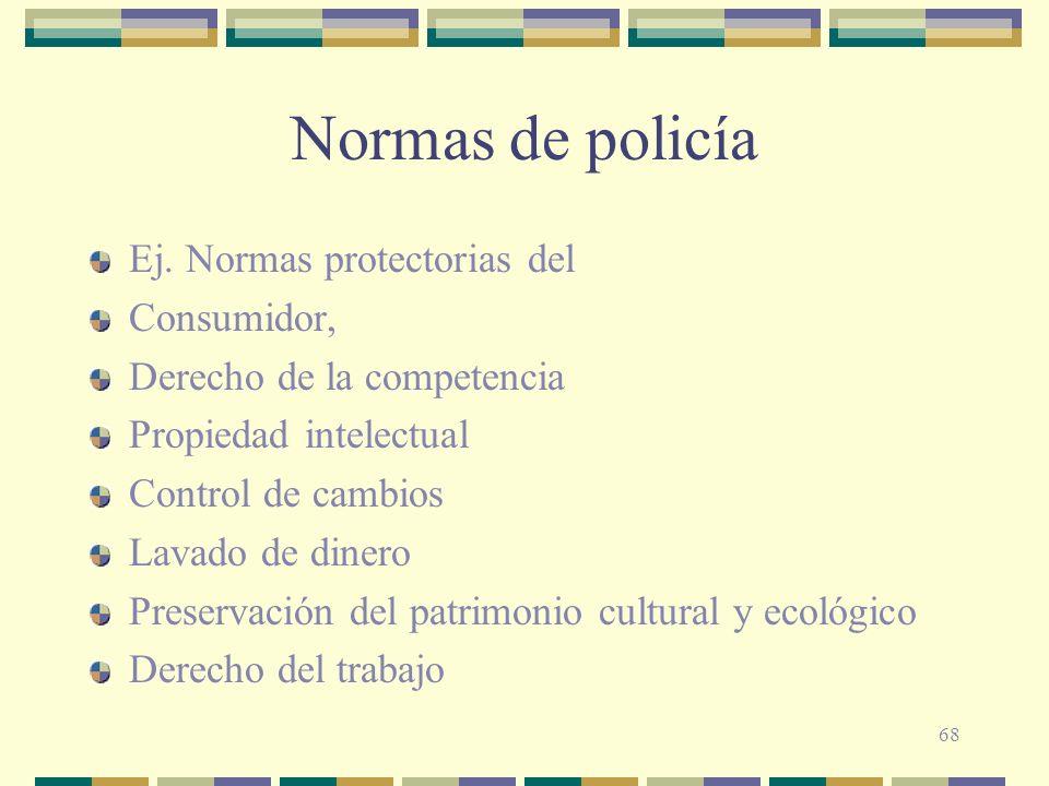 Normas de policía Ej. Normas protectorias del Consumidor,