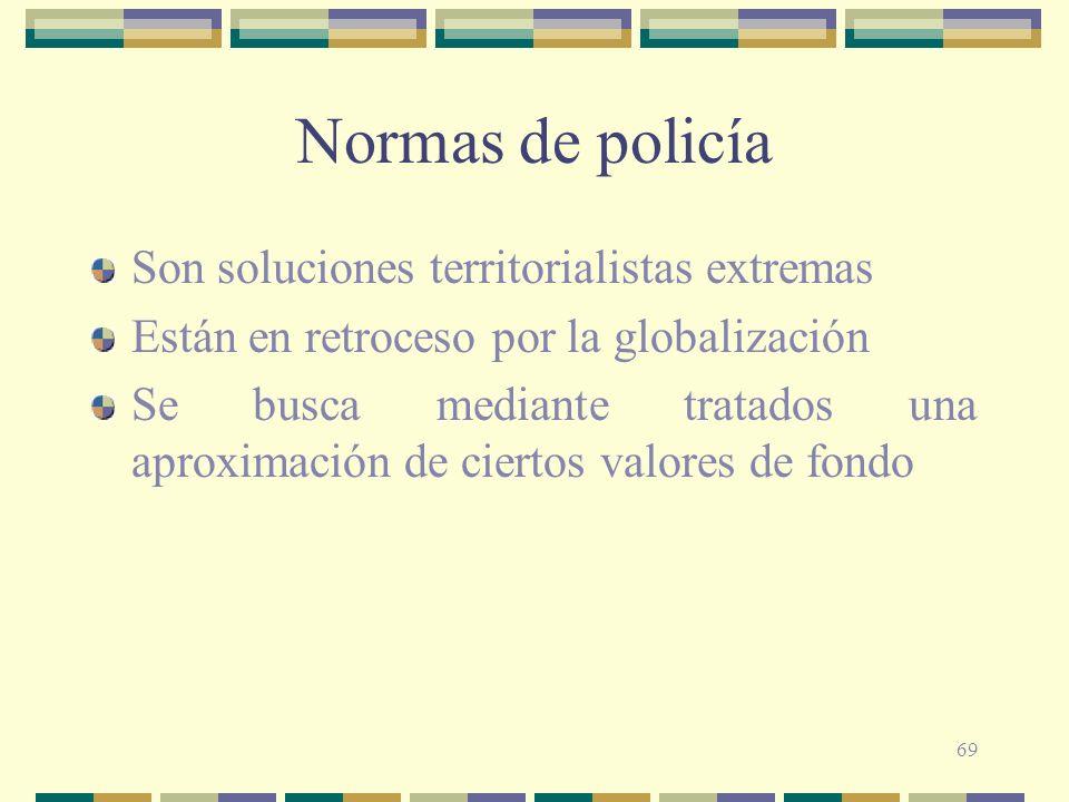 Normas de policía Son soluciones territorialistas extremas