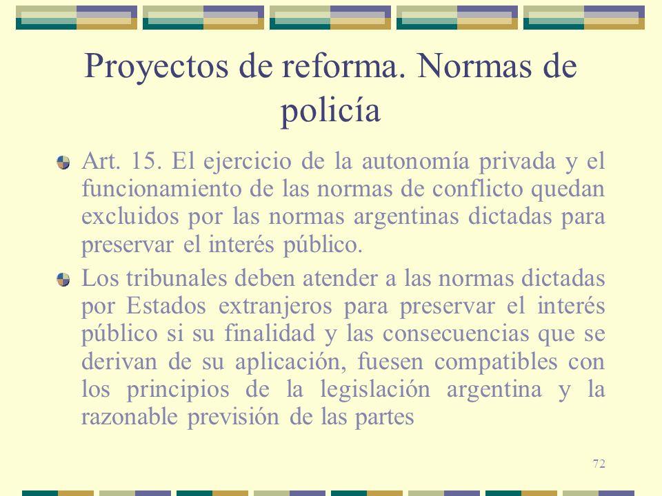 Proyectos de reforma. Normas de policía