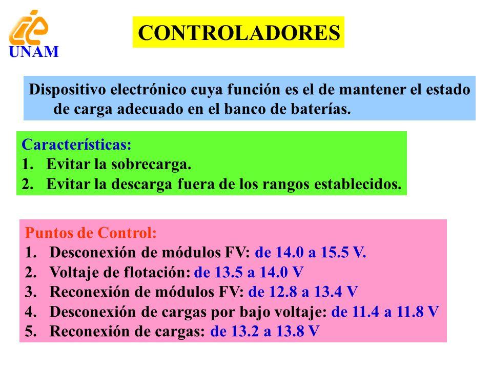 CONTROLADORES UNAM. Dispositivo electrónico cuya función es el de mantener el estado de carga adecuado en el banco de baterías.