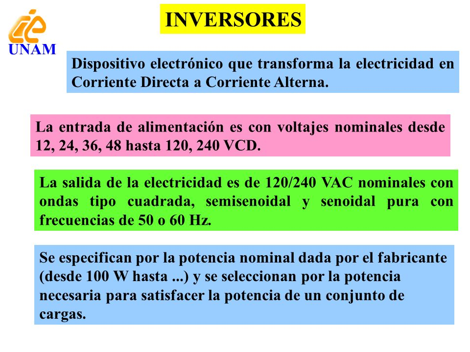 INVERSORES UNAM. Dispositivo electrónico que transforma la electricidad en Corriente Directa a Corriente Alterna.