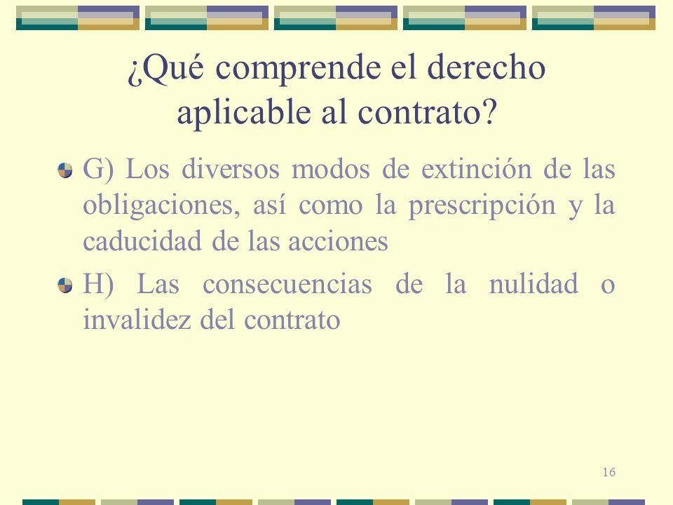 ¿Qué comprende el derecho aplicable al contrato