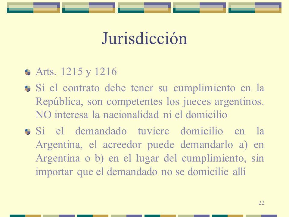 Jurisdicción Arts. 1215 y 1216.