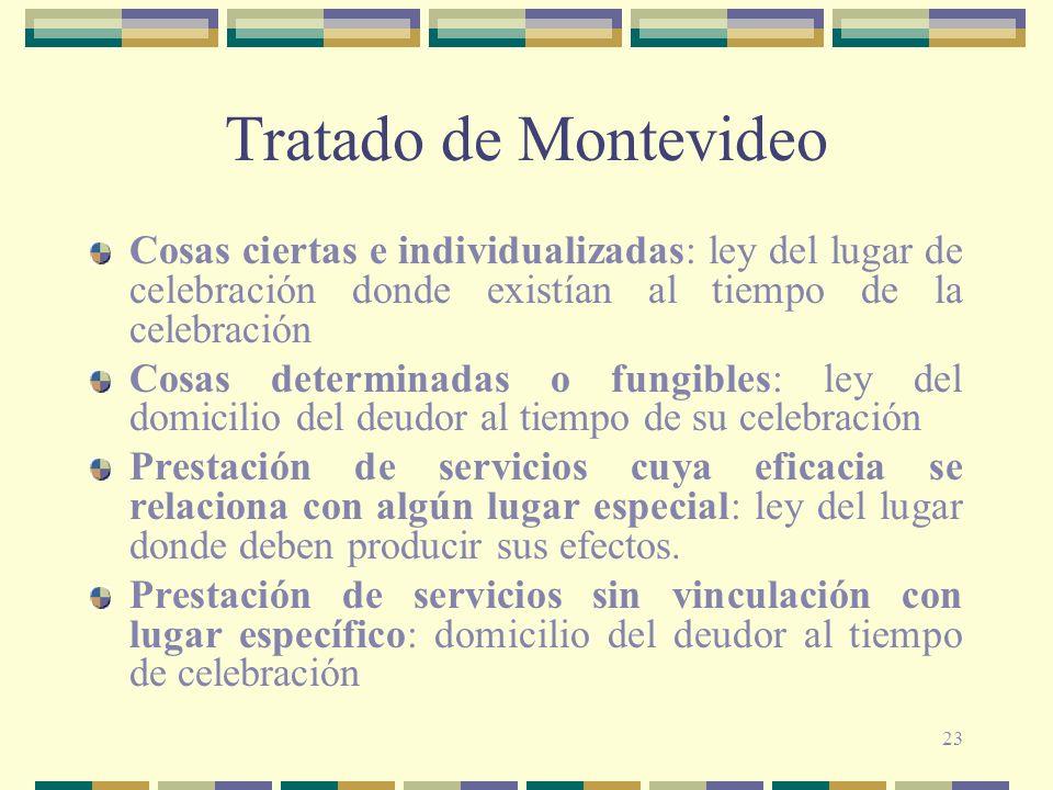 Tratado de Montevideo Cosas ciertas e individualizadas: ley del lugar de celebración donde existían al tiempo de la celebración.