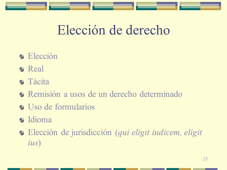 Elección de derecho Elección Real Tácita